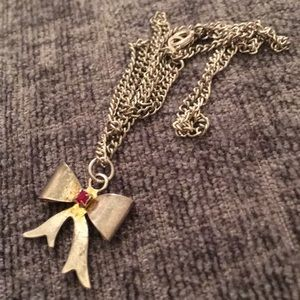 1950s vintage chrome bow necklace with red stone